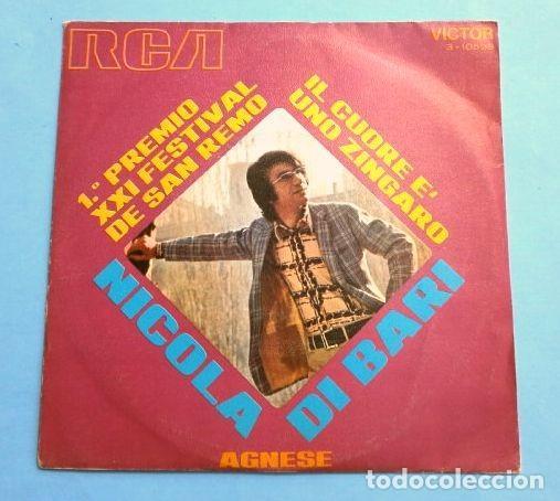 NICOLA DI BARI (SINGLE 1971) XXI FESTIVAL DE SAN REMO - IL CUORE E' UNO ZINGARO (1º PREMIO) (Música - Discos - Singles Vinilo - Otros Festivales de la Canción)