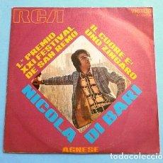 Disques de vinyle: NICOLA DI BARI (SINGLE 1971) XXI FESTIVAL DE SAN REMO - IL CUORE E' UNO ZINGARO (1º PREMIO). Lote 207389653