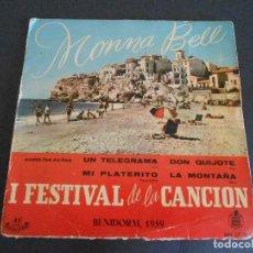 Discos de vinilo: MONNA BELL. IFESTIVAL DE LA CANCIÓN. BENIDORM, 1959. Lote 207428740