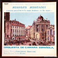 Discos de vinilo: MARIANA MARTINEZ. CONCIERTO PARA CLAVE EN LA MAYOR. ORQUESTA DE CÁMARA ESPAÑOLA. Lote 207484536