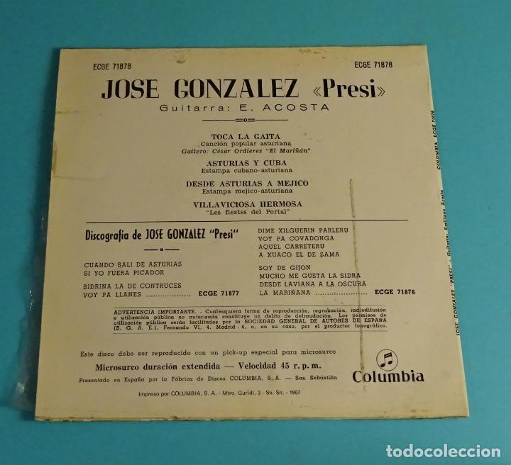 Discos de vinilo: JOSÉ GONZÁLEZ - PRESI -. GUITARRA E. ACOSTA. COLUMBIA - Foto 2 - 207651713
