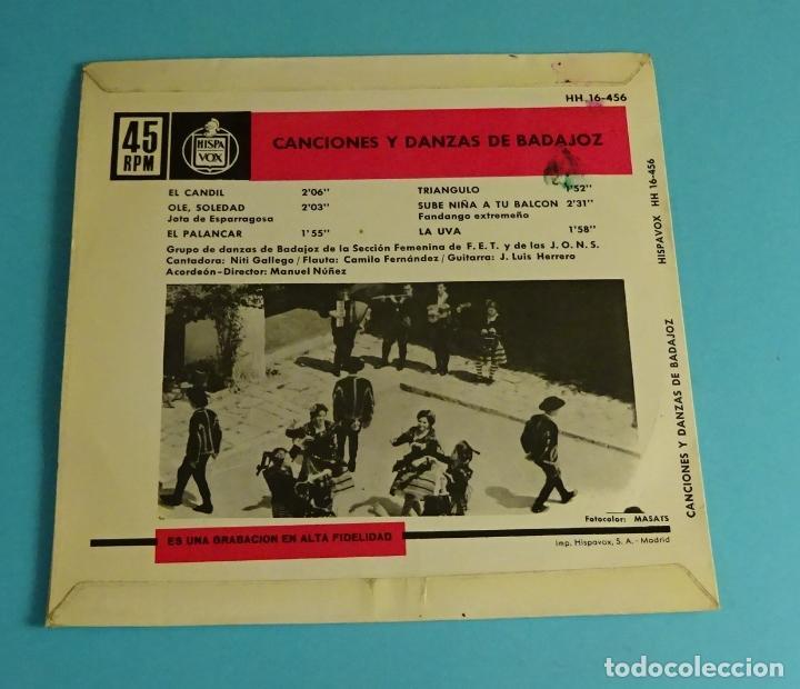 Discos de vinilo: CANCIONES Y DANZAS DE BADAJOZ. GRUPO DE DANZAS DE BADAJOZ DE LA SECCIÓN FEMENINA - Foto 2 - 207652196