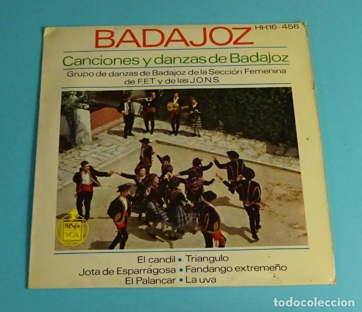 CANCIONES Y DANZAS DE BADAJOZ. GRUPO DE DANZAS DE BADAJOZ DE LA SECCIÓN FEMENINA (Música - Discos de Vinilo - EPs - Flamenco, Canción española y Cuplé)