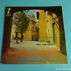 Discos de vinilo: HOMENAJE A VALENCIA. ORQUESTA MARAVELLA. DIRECTOR: LUIS FERRER. Lote 207653955