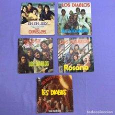 Discos de vinilo: SINGLE - LOTE DE 5 SINGLES DE LOS DIABLOS -ACALORADO -OH, OH JULY- ROSANA- NIÑA DE PAPÁ- UN MAÑANA. Lote 207742945