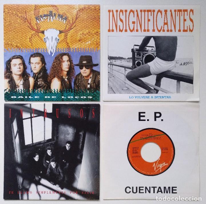 """[[ LOTE 7"""" 45RPM ]] INTRUSOS / EL ALMA -BAILE DE LOCOS / INSIGNIFICANTES LO VOLVERÉ / E.P. -CUENTAME (Música - Discos - Singles Vinilo - Grupos Españoles de los 90 a la actualidad)"""