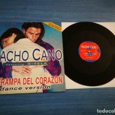 Discos de vinilo: NACHO CANO & GISELA LA TRAMPA DEL CORAZON REMIXES MAXI SINGLE VINILO COMO NUEVO MECANO MUY RARO. Lote 198054823