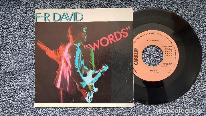 F-R DAVID - WORDS / WHEN THE SUN GOES DOWN. EDITADO POR CBS. AÑO 1.982 (Música - Discos de Vinilo - Singles - Pop - Rock Extranjero de los 80)
