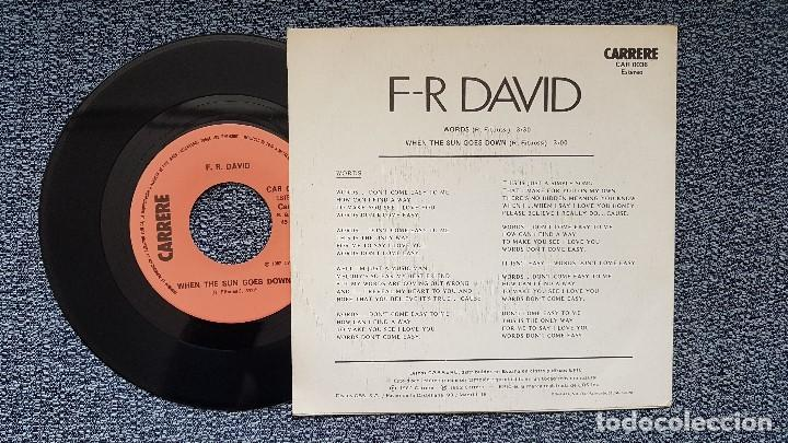 Discos de vinilo: F-R David - Words / When the sun goes down. editado por CBS. año 1.982 - Foto 2 - 207846941