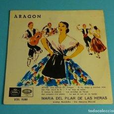 Discos de vinilo: ARAGÓN. JOTAS. MARÍA DEL PILAR DE LAS HERAS ACOMP. DE RONDALLA. DIR. MÁXIMO MAUREL EP 1958. Lote 207853508