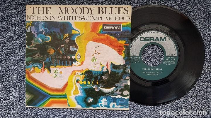 THE MOODY BLUES - NIGHTS IN WHITE SATIN / PEAK HOUR. EDITADO POR COLUMBIA. AÑO 1.967 (Música - Discos de Vinilo - Maxi Singles - Pop - Rock Extranjero de los 50 y 60)