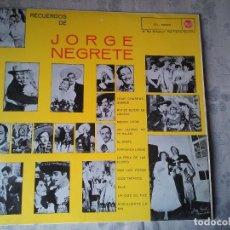 Discos de vinilo: ANTIGUO DISCO DE VINILO DE JORGE NEGRETE. LP DEL AÑO 1959. CANTANTE MUSICA RETRO. Lote 207954011