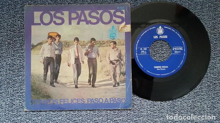 LOS PASOS - TIEMPOS FELICES / PASO A PASO. EDITADO POR HISPAVOX. AÑO 1.966 (Música - Discos - Singles Vinilo - Grupos Españoles 50 y 60)