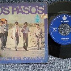 Discos de vinilo: LOS PASOS - TIEMPOS FELICES / PASO A PASO. EDITADO POR HISPAVOX. AÑO 1.966. Lote 208105883