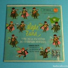 Discos de vinilo: ALEGRE TUNA. TUNA DE LA FACULTAD DE VETERINARIA DE MADRID. ESTUDIANTINA / CLAVELITOS (EP 1961). Lote 208164540