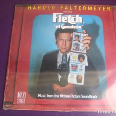 Discos de vinilo: HAROLD FALTERMEYER ‎– FLETCH THEME (EL CAMALEON) MAXI SINGLE MCA 1985 - DISCO POP CINE 80'S BSO. Lote 208333847