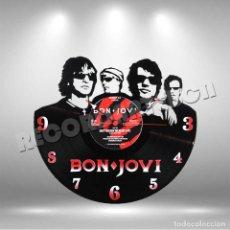 Discos de vinilo: RELOJ DE DISCO LP DE BON JOVI. Lote 208365941