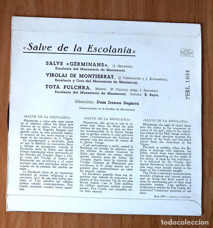 Discos de vinilo: SALVE DE LA ESCOLANÍA MONASTERIO MONTSERRAT- EP 45 RPM - Foto 2 - 208149400