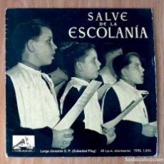 Discos de vinilo: SALVE DE LA ESCOLANÍA MONASTERIO MONTSERRAT- EP 45 RPM. Lote 208149400