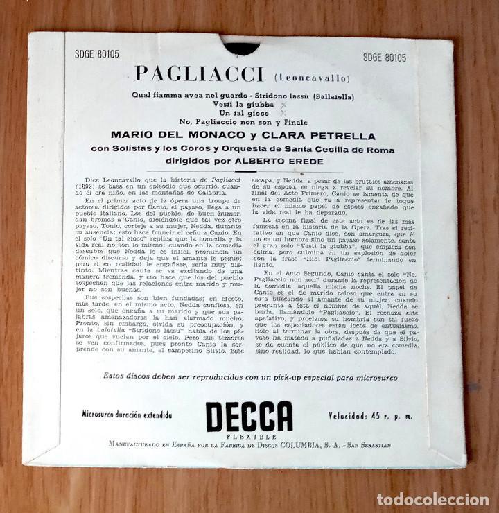Discos de vinilo: PAGLIACI (LEONCAVALLO) - MARIO DEL MONACO & CLARA PETRELLA - DIR ALBERTO EREDE - ED COLUMBIA 45 RPM - Foto 2 - 208150422