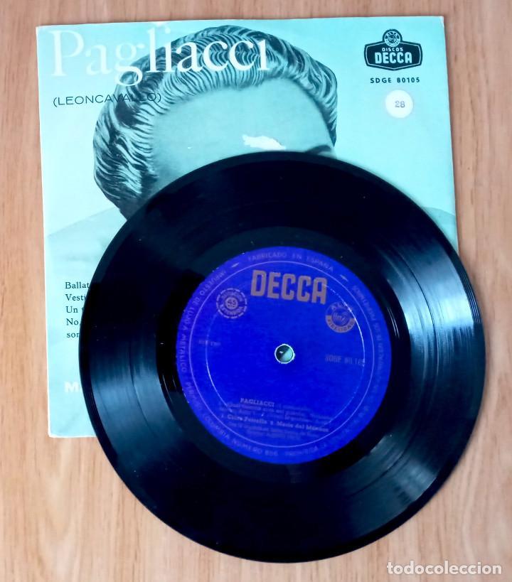 Discos de vinilo: PAGLIACI (LEONCAVALLO) - MARIO DEL MONACO & CLARA PETRELLA - DIR ALBERTO EREDE - ED COLUMBIA 45 RPM - Foto 3 - 208150422