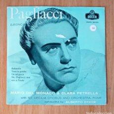Discos de vinilo: PAGLIACI (LEONCAVALLO) - MARIO DEL MONACO & CLARA PETRELLA - DIR ALBERTO EREDE - ED COLUMBIA 45 RPM. Lote 208150422