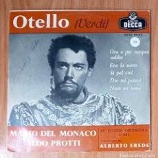 Discos de vinilo: OTELLO (VERDI) - MARIO DEL MONACO & ALDO PROTTI - DIR ALBERTO EREDE - ED DECCA 45 RPM. Lote 208150528