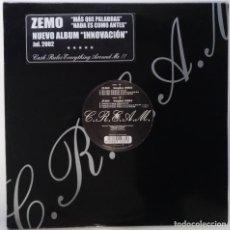 """Discos de vinilo: ZEMO - MAS QUE PALABRAS / NADA ES [ HIP HOP / RAP EDICIÓN LIMITADA ] ELEMENTS MX 12"""" 45RPM 7N7C 2002. Lote 208434526"""