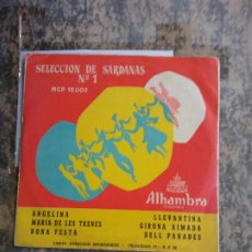 Discos de vinilo: SELECCIÓN DE SARDANAS Nº1. ANGELINA. MARIA DE LES TRENES. BONA FESTA. ALHAMBRA FLEXIBLE.. Lote 208441641