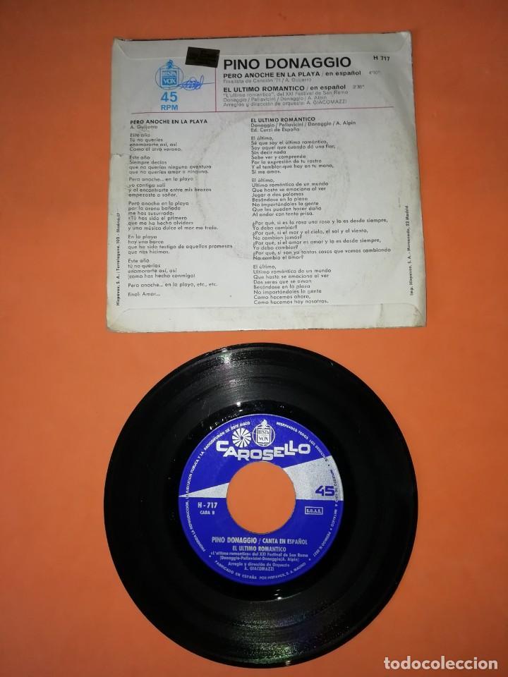 Discos de vinilo: PINO DONAGGIO. PERO ANOCHE EN LA PLAYA. EL ULTIMO ROMANTICO. CAROSELLO RECORDS HISPAVOX 1971 - Foto 2 - 208570516