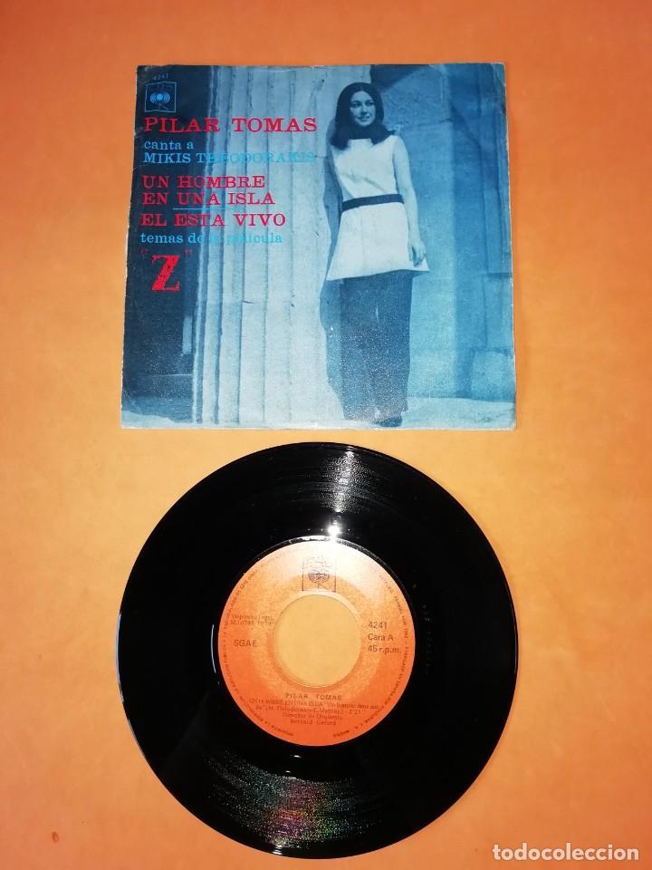 PILAR TOMAS. UN HOMBRE EN UNA ISLA. ESTA VIVO. TEMAS DE LA PELICULA Z. CBS 1970 (Música - Discos - Singles Vinilo - Bandas Sonoras y Actores)
