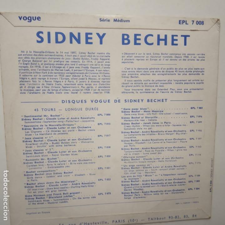 Discos de vinilo: SIDNEY BECHET - CLAUDE LUTER- SENTIMENTAL MR. BECHET - FRANCE EP + TRICENTRE. - Foto 2 - 208657485