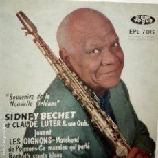 Discos de vinilo: SIDNEY BECHET- CLAUDE LUTER- SOUVENIRS DE LA NOUVELLE ORLEANS - FRANCE EP 1958 + TRICENTRE.. Lote 208657715
