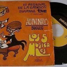 "Discos de vinilo: LOS 5 MUSICALES 7"" SPAIN 45 ADIVINALO+BUGULU III FESTIVAL LA CANCION INFANTIL TVE SINGLE VINILO 1969. Lote 208772570"