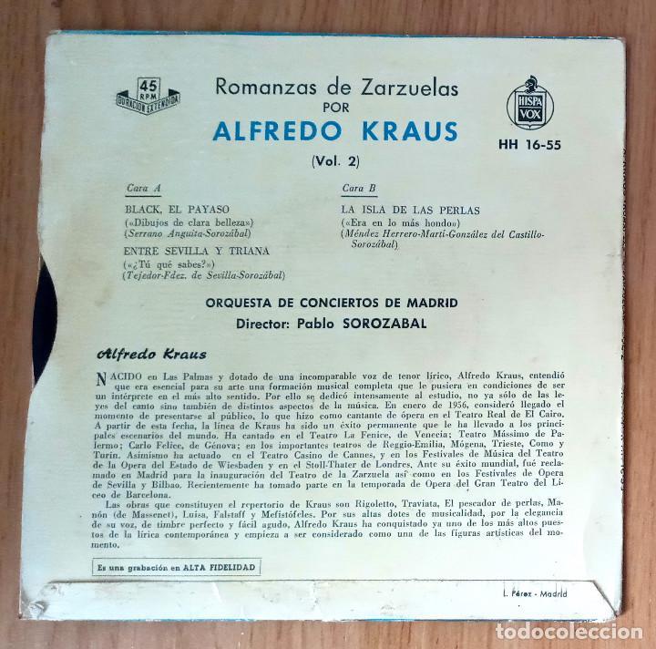 Discos de vinilo: ALFREDO KRAUS - ROMANZAS VOL2 (BLACK EL PAYASO, ENTRE SEVILLA Y TRIANA...- HISPAVOX HH-1655- 45 RPM - Foto 2 - 208793513