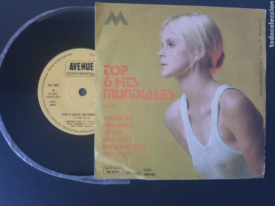 Discos de vinilo: TOP 6 HITS MUNDIALES. ANOTHER DAY. P. McCARTNEY, WHAT IS LIFE. G. HARRISON. SHEs A LADY. P. ANKA.. - Foto 2 - 208877465