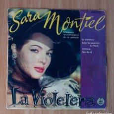 Discos de vinilo: SARA MONTIEL - LA VIOLETERA (BAJO LOS PUENTES DE PARÍS, MIMOSA...)- HISPAVOX HH-1751- 45 RPM. Lote 253706510