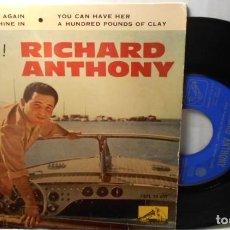 Discos de vinilo: RICHARD ANTHONY LET'S TWIST AGAIN + 3 EP LA VOZ DE SU AMO SPAIN 1961 EX / EX. Lote 208972058