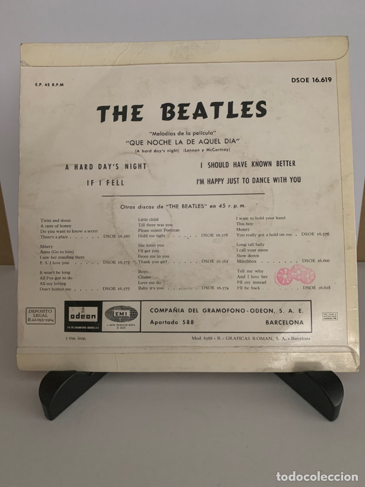 Discos de vinilo: The Beatles single A hard day's night - If I fell - I should have know better - I'm just to dance - Foto 2 - 209042745