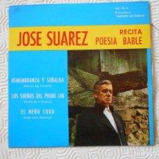 Discos de vinilo: JOSE SUAREZ RECITA POESIA EN BABLE. DISCOTECA AMIGOS DEL BABLE. SINGLE DE VINILO CON 3 RECITADOS: RE. Lote 209083821