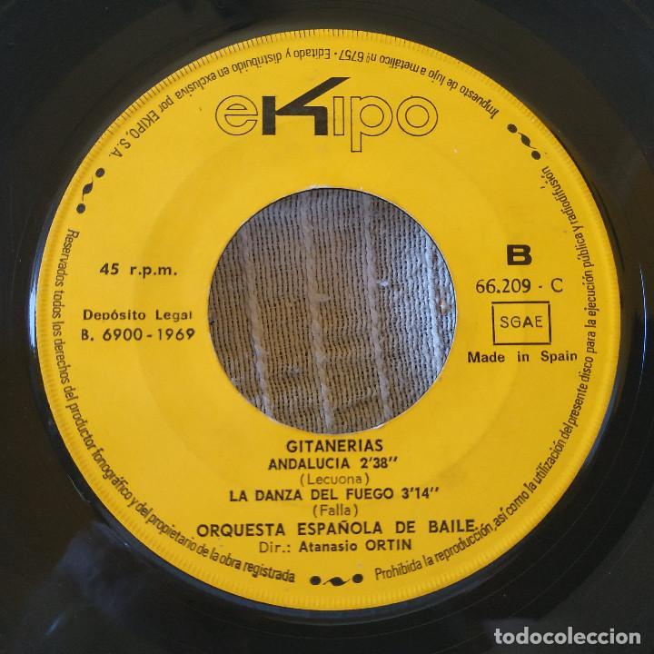 Discos de vinilo: Orquesta Española De Baile Dir.: Atanasio Ortin - Gitanerías + 3 - EP Spain Ekipo 66.209-C año 1969 - Foto 3 - 209091365