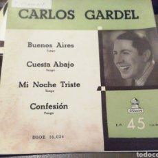 Discos de vinilo: CARLOS GARDEL. VINILO SINGLE.. Lote 209259248