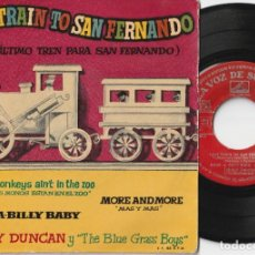 Discos de vinilo: JOHNNY DUNCAN Y THE BLUE GRASS BOYS - LAST TRAIN TO SAN FERNANDO (EP LA VOZ DE SU AMO 1958 ESPAÑA). Lote 209341476