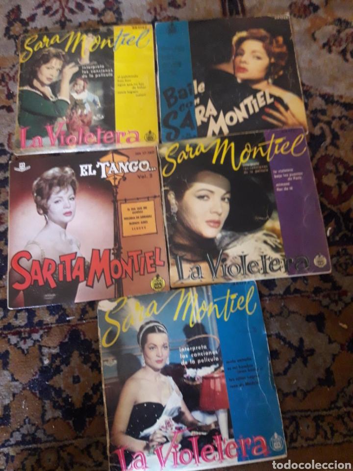 LOTE DE 5 ANTIGUOS DISCOS DE SARA MONTIEL (Música - Discos de Vinilo - Maxi Singles - Flamenco, Canción española y Cuplé)
