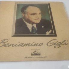 Discos de vinilo: VINILO BENIAMINO GIGLI. Lote 209605192