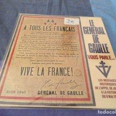 Discos de vinilo: LP FRANCES DE DISCURSOS DEL GENERAL CHARLES DE GAULLE BUEN ESTADO CIRCA 1965. Lote 209632643