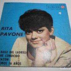 Discos de vinilo: SINGLE RITA PAVONE. EL BAILE DEL LADRILLO. TE HE CONOCIDO. CORAZÓN. TENEMOS 16 AÑOS. RCA 1963 (BIEN). Lote 209756755