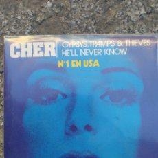 Discos de vinilo: CHER - GYPSYS, TRAMPS, THIEVES - SINGLE VINILO PERFECTO ESTADO. Lote 209868360