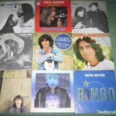 Discos de vinilo: THE BEATLES - JOHN LENNON - GEORGE HARRISON - RINGO STARR - LOTE 9 SINGLES EDICIÓN ESPAÑOLA. Lote 209875405
