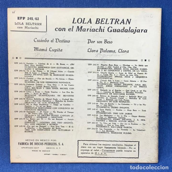 Discos de vinilo: SINGLE LOLA BELTRÁN - CUANDO EL DESTINO , MAMÁ LUPITA - MÉXICO - AÑOS 60 - Foto 3 - 209934565